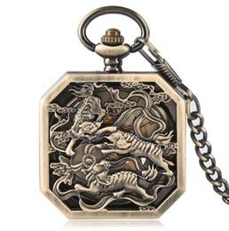 e6ade32db1a Venda quente de Bronze de Combate Tigre Mecânica Relógios de Bolso  Steampunk Praça dos homens relógios de bolso 100 pçs   lote Atacado
