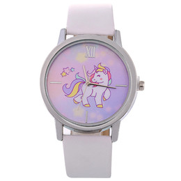 Wholesale Happy Ladies - fashion new kids children cartoon star happy unicorn leather watches 2018 wholesale women ladies roma dress quartz watches
