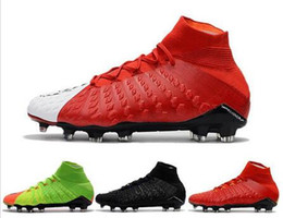 Wholesale Cream Color Boots - Drop Shipping Wholesale Football Shoes Men Hypervenom III Phantom FG Soccer Boots Authentic 9 Color 2017 Outdoor Sports Shoes Size 39-45