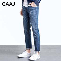 Wholesale Exclusive Jeans - Wholesale-2017 GAAJ Exclusive Men's Jeans Brand Mens Jean Straight Slim Cotton Denim Elastic Pants Trousers For Plus Size 50 4XL 5XL 6XL
