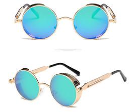 Wholesale mens circle sunglasses - High Quality UV400 Gothic Steampunk Mens Sunglasses Coating Mirrored Sunglasses Round Circle Sun glasses Retro Vintage Gafas Masculino 8825