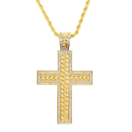 wedding pendant for boys Coupons - Gold plated cross pendant necklace for men 2019 new deisng cuban link chain crosses iced out bling hip hop jewelry for men boy
