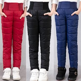 Wholesale Warm Pants For Kids - Boys Pants Children Girls Leggings Trousers For Girls Winter Thicken Warm Slim Clothes Down Baby Kids Autumn Clothes Clothing