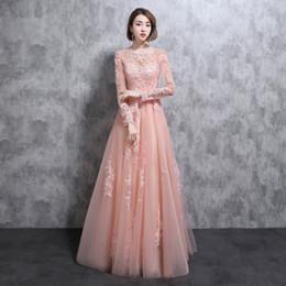 2018 wangyandress Foto real Manga larga Vestidos de dama de honor Longitud del piso Apliques de encaje Tul Perla Rosa Novia hueca Vestidos de dama de honor desde fabricantes