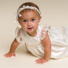 Canada Robes de première communion bijou dentelle perlée Applique Longueur de la manche des manches courtes Tenues de baptême Porter fille formelle porter avec Bonnet Offre