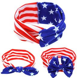 Wholesale Baby Ear Band - New Product Headband American Flag Rabbit Ears Hair Band Baby Knotted Headband Bow National Day Free Shipping