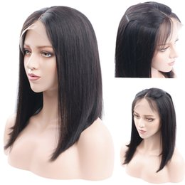 Wholesale remy short wigs - Pre Plucked Straight Short Bob Wigs For Black Women Brazilian Remy Hair Lace Front Human Hair Wigs Lightly Bleached Knots Natural Color