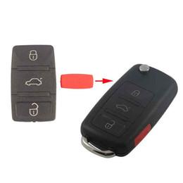 Llave de coche cubierta de goma online-3Button Car Key Pad para VW Remote Flip Key Shell Funda clave Hold Cojín de goma