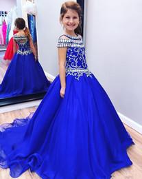 Il bambino progetta il treno online-Cristalli Toddler Girls Pageant Abiti Royal Blue Cristalli Glitz Ragazze Birthday Party Gowns Bambini Formale Prom Ball Gown Sweep Train