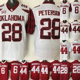 ed630c00 Youth Oklahoma Sooners Jerseys #28 Adrian Peterson #44 Brian Bosworth #6  Baker Mayfield College Football Jerseys Red White