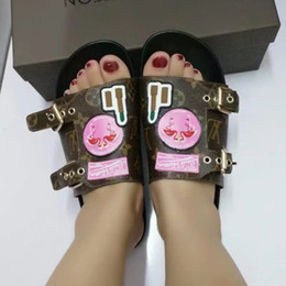 Wholesale Hotel Animals - Newest Luxury Brand Women Leather Letter Slippers Rubber Outsole Babouche Flamingo Chinela Perfect Flat Plain Sandal Size35-42