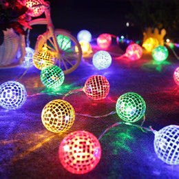 mirrored ball light Promo Codes - Hot LED mirror ball light string creative mosaic decorative ins room dress lights string battery lights