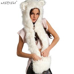 Wholesale Hat Scarf Glove Sets Women - MIOIM Winter 3 In 1 Hat Set Women Faux Animal Fur Hat Fluffy Scarf Shawl Glove Plush Ladies Fur Scarf Gloves Set 8 Colors 3