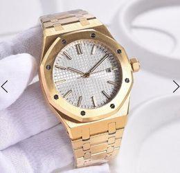 Oros maduros online-La mejor elección automática de los 41MM Amarillo Oro Relojes para hombre maduro relojes del reloj transparente esfera blanca con oro Volver Índice de Manos y marcadores de hora