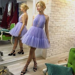 abiti lunghi di seta semplice di promenade Sconti Halter Backless Sexy Short Prom Dress Evening Party Dress Sleeveless Tulle Skirt Homecoming Cocktail Gowns 2019