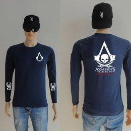 Wholesale Fluorescent T Shirts - New Autumn Long Sleeve 100% Cotton Children Adult Summer Fluorescent Assassins Creed T Shirt Casual Luminous t-shirts men women