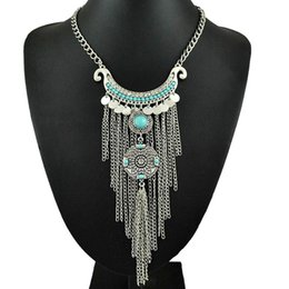 Wholesale Thai Gifts Wholesale - Wholesale-Free Shipping vintage jewelry Bohemia Collier Femme Thai Silver Coins Tassel Pendant Colar Statement Necklace for women