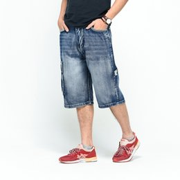 Hip hop Loose Casual Jean Shorts Hombre Verano Bolsillos grandes Capris  Male Plus Size Clothing Jeans pantalones cortos capris para hombres baratos 95dfd0184ca