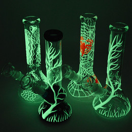 Wholesale Oil Diffuse - Glow In The Dark Beaker Bong Oil Dab Rigs Smoking Water Pipes With Diffused Downstem Straight Tube Glass Bongs 18mm Female Joint GID01-05