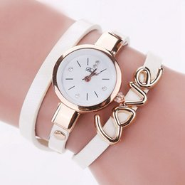Wholesale Vintage Red Rose Bracelet - Watch Women 2017 Rose Gold Love Leather Casual Bracelet Quartz Wristwatches Ladies Dress Wrist Sport Vintage Watch S0209