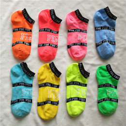 Wholesale Pink Hosiery - Pink Letter Socks Pink Anklet Sports Hosiery Cotton Fashion Short Socks Slipper Girl Sexy Love Pink Ship Socks Summer Underwear