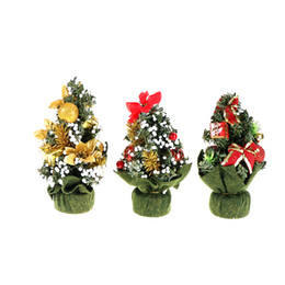 Wholesale Christmas Santa Figurines - A Small Pine Ornaments Tree Santa Mini Christmas Trees Xmas Decorations Placed In The Desktop Festival Home Party 1PCS