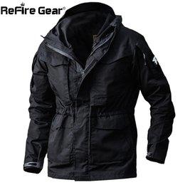 Engranaje de camuflaje online-ReFire Gear Army Field Tactical Jacket Hombres impermeables Rip-stop Camuflaje Chaquetas Militares Otoño Multi-Bolsillos Chaqueta Cazadora S914