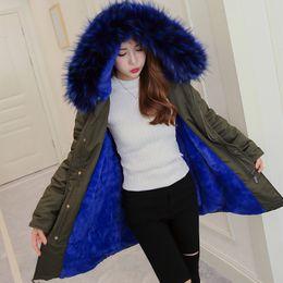 Wholesale Girls Purple Fur Coat - Blue Faux Fur Coat Women Jacket Winter Parkas Big Fur Hooded Warm Outwear Thcker Clothes Warm Flannel Girl Ladies Clothing HOT