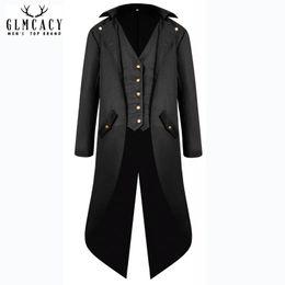 Мужская Винтаж готический Викторианский куртка стимпанк сюртук пальто фрак смокинг униформа Хэллоуин костюм от