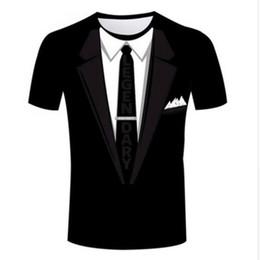 Estilos de camisas de esmoquin online-Nueva Moda Ropa de Dibujos Animados Tuxedo Divertido Casual Camiseta Mujeres Hombres 3D Camiseta Harajuku camiseta Verano Estilo Tops XTXS056