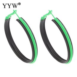 Wholesale Large Round Fashion Earrings - whole sale2017 New Fashion Designs Punk Style Round Big Hoop Earrings Pink Purple Green Painted Black Large Big Hoop Earrings For Women