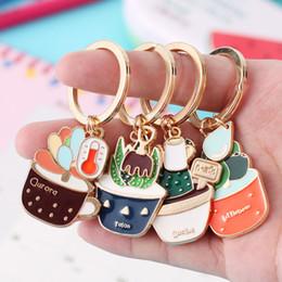 Wholesale Cartoon Girls Beach - enamel Cactus keychains women Succulent Potted keychain beach style hat rings creative car key holder cute key finder bag rings