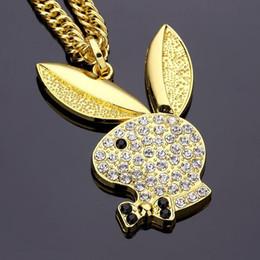 Wholesale Retro Rabbit - Diamond Rabbit Necklace 2018 Classic retro hip-hop Pendant Necklace Hip hop jewelry high-quality Gold silver plated