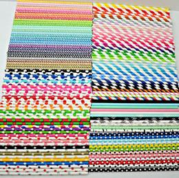 Papier en vrac en Ligne-1000pcs pailles de papier en vrac - Plus de 300 modèles - Choisissez des couleurs - Rayé, Polka Dot, Chevron, Parti de pailles à boire