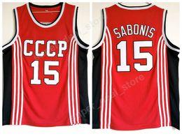 2019 спортивные майки Arvydas Sabonis Jersey 15 Basketball CCCP Team Russia College Jerseys Men Красный командный цвет все Sttitched Sports высокое качество на продажу скидка спортивные майки