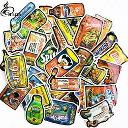 Canada 50pcs / lot Spoof autocollants d'emballage alimentaire pour planche à roulettes pour ordinateur portable Bagages Réfrigérateur Téléphone Car-Styling doodle Américain autocollant de voiture cheap american stickers Offre