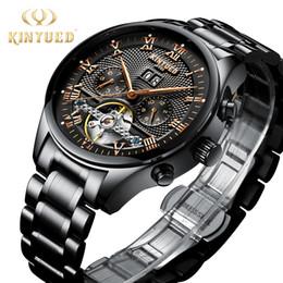 a52ab57a541 KINYUED Mens Relógios Mecânicos Automático de Aço Inoxidável Automático À  Prova D  Água Esqueleto de Negócios Relógio Homens Calendário Relogio  masculino