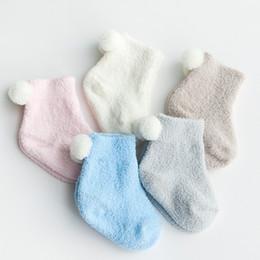 Wholesale Baby Socks Pack - 9pairs Pack Autumn And Winter Thickening Baby Thermal Socks 0 -3 Years Old Baby Solid Color Coral Fleece Spherule Kids Socks