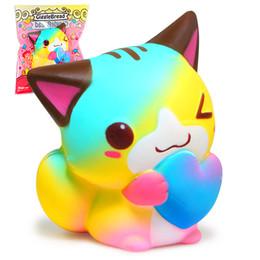 2018 nuevo juguete HaveFun Love cat Colorful Cat Squishy Cute Squishies Slow Rising Cream Perfumado paquete original Squeeze Toy dropshipping desde fabricantes