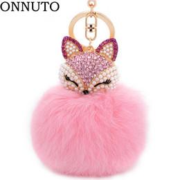 Lovely Crystal Faux Fox piel de conejo llaveros mujeres baratijas Suspensión en bolsas llavero llaveros de juguete regalos 7C0394 desde fabricantes