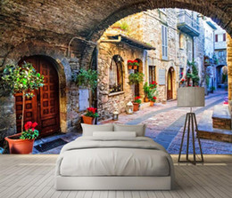 Wholesale Modern Italian Living Rooms - Non-woven Wallpaper Custom Photo Wall Paper Mural 3D Italian Town Street View European Landscape Wall Covering Papel De Parede