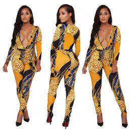 21da8754ea7 Women Jumpsuits   Rompers Fashion floral printing Dashiki Bodycon Bodysuits Plus  Size 3XL Sexy Deep V club bandage playsuits