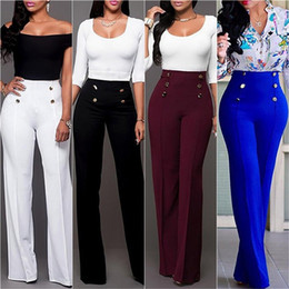 Wholesale High Waist Button Pants - Wide Leg Pants Strech Trousers Ladies Flared Trousers Loose Pants High Waist Slacks Solid Color Suit Pants Straight Trousers