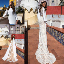 a69d373cc00 2019 robes de mariée nuptiales anciennes 2018 Musulman Saoudien Arabe  Dentelle Robes De Mariée Sirène Manches
