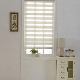 Zebra-raumvorhänge online-Zebra Jalousien Durchlässiger Rollos Jalousien Double Layer Benutzerdefinierte Größe Vorhänge in Beige für Wohnzimmer gemacht