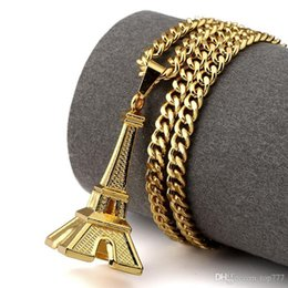 Wholesale Vintage Eiffel Tower - 2018 Fashion Hip Hop Gold Eiffel Tower Necklace Romantic Necklaces & Pendants Women Gift Vintage Fashion Jewellery