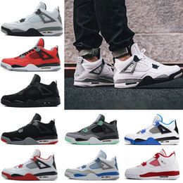 Wholesale Mens Purple Canvas Shoes - 2018 High Quality Retro 4 4s Basketball Shoes Man Authentic IV Boots White Cement Fire Red Bred Bulls Royalty Thunder Mens Sport Shoes