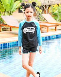 Wholesale Girls Swimwear Long - 2018 New Baby Girls Swimwear Long Sleeve t-shirt+shorts Swimming Suit two Piece Set 5-10Y s178#