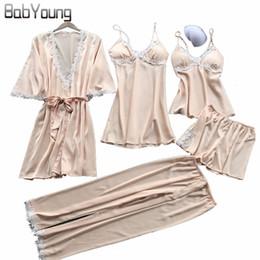 BabYoung Spring Pyjamas Women Pajamas Set Silk Sexy Pijama Mujer Lace Tops  Camis Lingerie Femme Sleepwear Home Wear 5 PCS Pink efee16a51