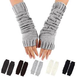 Wholesale Long Fingerless Gloves Girls - 1 Pair Fashion Autumn Winter Spring Warm Women Ladies Girl Solid Gloves Arm Warmer Long Fingerless Knitting Wool Mittens